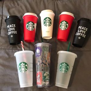 Lot of Starbucks reusable cups.